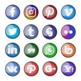 Ícone social e botões dos meios ajustados Fotos de Stock Royalty Free