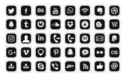 ?cone social popular da Web do vetor de 40 logotipos dos meios ilustração do vetor