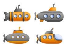 Ícone submarino ajustado, estilo dos desenhos animados ilustração stock