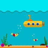 Ícone submarino liso Fotografia de Stock