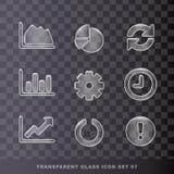 Ícone transparente de vidro set-07 Fotos de Stock Royalty Free