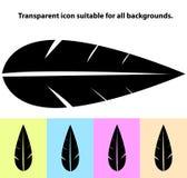Ícone transparente simples da folha em tipos diferentes de fundos claros Imagens de Stock Royalty Free