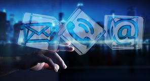 Ícone transparente tocante do contato do cubo do homem de negócios com seu fing Fotografia de Stock