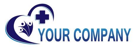 Ícone transversal médico do logotipo da saúde da família do coração para a empresa Fotos de Stock Royalty Free