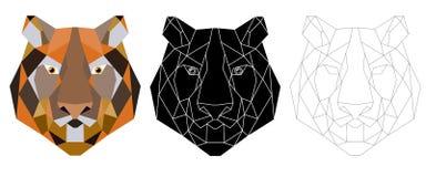 Ícone triangular principal do tigre, na moda geométrico Foto de Stock