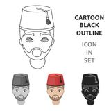 Ícone turco do homem no estilo dos desenhos animados isolado no fundo branco Ilustração do vetor do estoque do símbolo de Turquia Foto de Stock