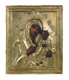 Ícone ucraniano antigo da igreja isolado no branco Foto de Stock