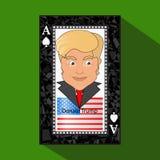 Ícone uma ilustração do vetor um ás a vitória do cartão de jogo para ganhar Donald Trump a combinação Bandeira americana no backg Fotos de Stock Royalty Free
