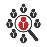 Ícone vago da posição ou pesquisa pelo trabalho ou pelo empregado Povos da busca Lente de aumento do pictograma do conceito do ve ilustração royalty free