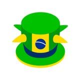 Ícone verde brasileiro do chapéu, estilo 3d isométrico Foto de Stock Royalty Free