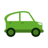 Ícone verde da contaminação da indústria do transporte do carro ilustração do vetor
