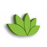Ícone verde da flor de lótus 3d no fundo branco Bem-estar, termas, ioga, beleza e tema saudável do estilo de vida Vetor Fotos de Stock