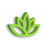 Ícone verde da flor de lótus 3d no fundo branco Bem-estar, termas, ioga, beleza e tema saudável do estilo de vida Vetor Foto de Stock Royalty Free