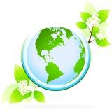 Ícone verde do planeta ilustração do vetor