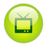 Ícone verde Glassy da televisão Fotos de Stock