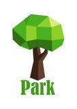 Ícone verde poligonal abstrato da árvore Imagens de Stock