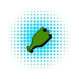Ícone verde quebrado da garrafa, estilo da banda desenhada ilustração royalty free