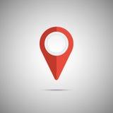 Ícone vermelho colorido do ponteiro do mapa Elemento do vetor Fotos de Stock Royalty Free