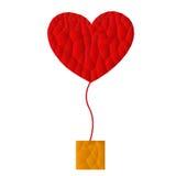Ícone vermelho com caixa marrom, vetor do coração do polígono, ilustração Fotografia de Stock