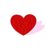 Ícone vermelho com sombra cor-de-rosa, vetor do coração do polígono Imagens de Stock
