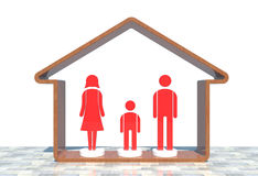 Ícone vermelho da família Ilustração Stock