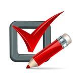 Ícone vermelho da marca do lápis e do tiquetaque Imagens de Stock