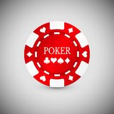 Ícone vermelho da microplaqueta do casino Casino Chip Vetora Illustration Foto de Stock