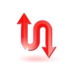 Ícone vermelho da seta ilustração do vetor