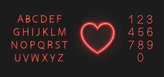 Ícone vermelho de néon do coração do vetor e fonte colorida, tipo grupo isolado no fundo escuro, casamento, símbolo do amor ilustração royalty free