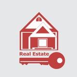 Ícone vermelho de Real Estate da casa Fotografia de Stock