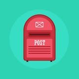 Ícone vermelho do cargo da caixa postal do vintage Ilustração lisa do projeto Fotografia de Stock