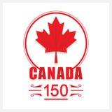 Ícone vermelho do emblema da folha de bordo de Canadá 150 Foto de Stock