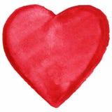 Ícone vermelho do símbolo do amor do coração da aquarela isolado Imagens de Stock