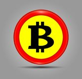 Ícone vermelho do sinal de Bitcoin para o dinheiro do Internet Símbolo de moeda cripto e imagem da moeda para usar-se em projetos Fotos de Stock Royalty Free