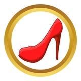 Ícone vermelho do vetor da sapata do salto alto Imagem de Stock
