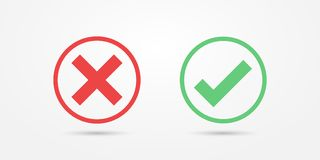 Ícone vermelho e verde da marca de verificação do ícone do círculo isolado no fundo transparente Aprove e cancele o símbolo para  fotos de stock