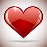 Ícone vermelho lustroso do coração Fotos de Stock Royalty Free