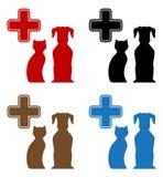 Ícone veterinário colorido ajustado do cuidado Imagem de Stock