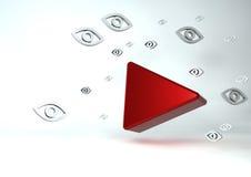 ícone video dos meios 3D sociais com muitas opiniões dos olhos Imagens de Stock Royalty Free