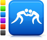 Ícone Wrestling na tecla quadrada do Internet Imagens de Stock