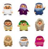 Ícones árabes dos povos dos desenhos animados Foto de Stock