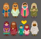 Ícones árabes dos povos dos desenhos animados Fotos de Stock