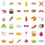 Ícones étnicos ajustados, estilo da culinária dos desenhos animados Foto de Stock
