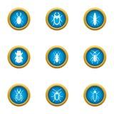 Ícones úteis ajustados, estilo liso do besouro ilustração stock