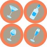 Ícones 1 do álcool Imagens de Stock
