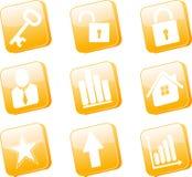 ícones 3d alaranjados ajustados Fotos de Stock