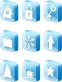 ícones 3d azuis ajustados Foto de Stock Royalty Free