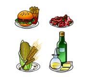 Ícones 5 do alimento Fotografia de Stock