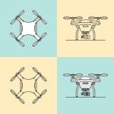 Ícones aéreos dos zangões ajustados Fotografia de Stock