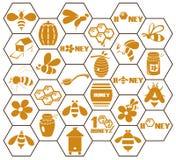 Ícones abelha e mel no pente Fotos de Stock Royalty Free